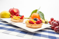 Fruit tart on plate. On an plate of delicious fruit tart Stock Photos