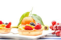 Fruit tart on plate. On an plate of delicious fruit tart Royalty Free Stock Photos