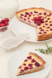 Fruit tart with raspberry and white chocolate Stock Photography