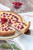 Fruit tart with raspberry and white chocolate Stock Photos