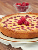 Fruit tart with raspberry and white chocolate Stock Images