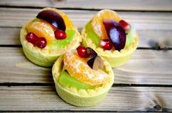Fruit tart on table Stock Photos