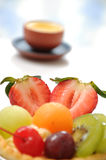 Fruit tart and tea Royalty Free Stock Photo