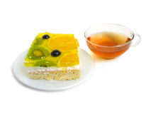 Fruit tart with tea cup Royalty Free Stock Photography