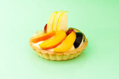 Fruit tart on white background. Fresh fruit tart on white background royalty free stock photos