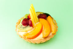 Fruit tart on white background. Fresh fruit tart on white background stock photography