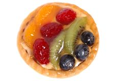 Fruit tart on white plate 4 Stock Photo