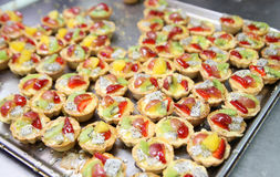 Fruit tartlets cake. Photograph of fruit tartlets cake ready to serve Stock Photos