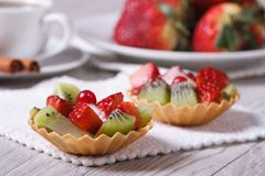 Fruit tartlets with strawberries and kiwi closeup Royalty Free Stock Image