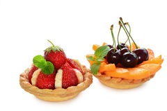 Fruit tartlets on white Royalty Free Stock Photo