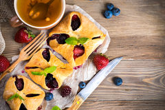 Fruit tarts with berries Stock Photos