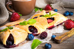 Fruit tarts with berries Royalty Free Stock Images