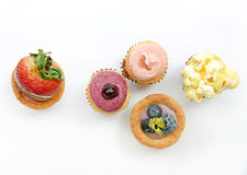 Fruit Tarts On White Background (top View) Stock Photography
