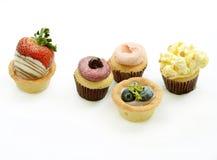 Fruit tarts on white background Royalty Free Stock Images