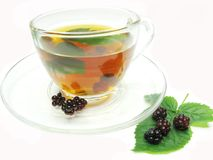 Fruit tea with blackberry berries Stock Photos