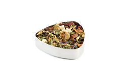 Fruit tea. Fruit blend of hibiscus petals, apple pieces, dried orange peel, mint and strawberry Royalty Free Stock Images
