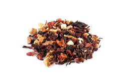 Fruit tea. Fruit blend of strawberry, kiwi, hibiscus petals, apple pieces and dried orange peel Royalty Free Stock Photos