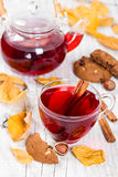 Fruit tea with cookies Stock Images