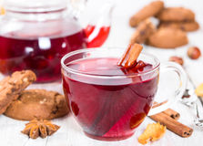 Fruit tea with cookies Royalty Free Stock Images