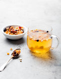 Fruit tea, dried fruits and spices, in cup Stock Photography