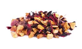 Fruit tea with hibiscus, apple, raspberry, rose petals and dog-rose, isolated on white background. Fruit tea with hibiscus, apple, raspberry, rose petals and stock photos
