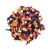 Fruit tea with hibiscus, apple, raspberry, rose petals and dog-rose, isolated on white background. Top view. Fruit tea with hibiscus, apple, raspberry, rose royalty free stock photo