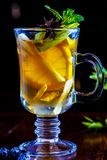 Fruit tea with lemon and Apple in glass Cup Royalty Free Stock Images