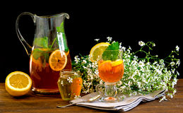 Fruit tea with lemon Stock Photos