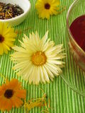 Fruit tea with marigolds Royalty Free Stock Photos