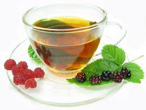 Fruit tea with raspberry and blackberry Royalty Free Stock Image