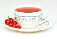 Fruit tea with sour cherries and red currant Stock Photos