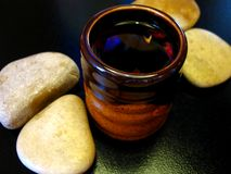 Fruit tea and stones stock image