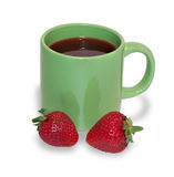Fruit tea with strawberries in green cup, isolated Stock Photography