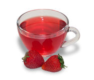 Fruit tea in transparent cup with strawberries Stock Photos