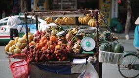 Fruit tent on wheels summer. Vitamins Asia Nha Trang Vietnam stock video
