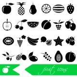 Fruit theme black simple icons set eps10 Stock Photography
