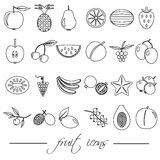 Fruit theme black simple outline icons set eps10 Royalty Free Stock Images