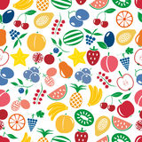 Fruit theme color simple icons seamless multicolor pattern eps10 Royalty Free Stock Photos