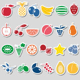 Fruit theme color simple stickers icons set eps10 Royalty Free Stock Photo