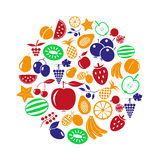 Fruit theme color various fruits simple icons in circle eps10 Royalty Free Stock Image