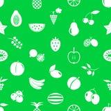 Fruit theme icons set green and white seamless pattern eps10 Royalty Free Stock Photo