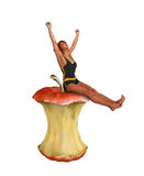 Fruit Therapy Weight Loss Girl Happy Apple Royalty Free Stock Image