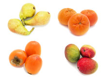 Fruit. Three green pears, orange, mango, persimmon, Collage of four photos on a white background, isolated Stock Images