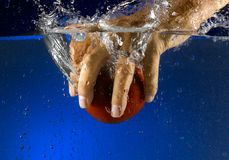 Fruit thrown in water Royalty Free Stock Images