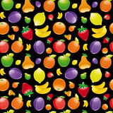 Fruit to black background. Seamless pattern Royalty Free Stock Image