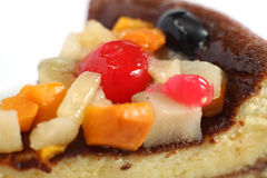 Fruit topped sponge cake macro Royalty Free Stock Photo