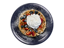 Fruit-topped Waffle on Cobalt Blue Dinner Plate Stock Photography