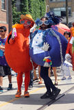 Fruit at Toronto Pride 2011. Men in fruit costumes at the Toronto Pride 2011 parade Stock Photo