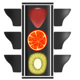 Fruit traffic light. This is traffic light. Its lights are strawberry, orange and kiwi Stock Photo