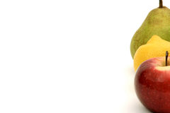 Fruit traffic lights. Three fruits standing in a row Royalty Free Stock Images